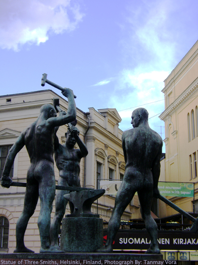 Statue of Three Smiths, Helsinki, Finland